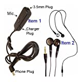 Handsfree Stereo Headset Headphones + Microphone + 3.5mm Adapter Converter + Car Home Charger Plug Port For All HTC Phone Smartphone PDA