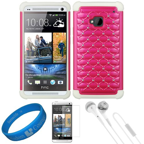 White & Magenta Embeded Studded Diamond Faceplate With Silicone Skin Cover For Htc One M7 Android Smart Phone + Clear Anti Glare Screen Protector Strip W/ Cleaning Cloth + White Vg Stereo Headphones With Windscreen Mic & Silicone Ear Tips + Sumaclife Tm W
