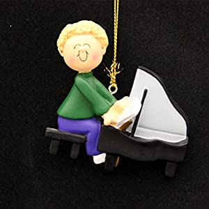 Ornament Central OC-182-MBL Male Blonde Piano Player Figurine