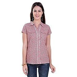 Tantra Zoe Women's Cotton Half Sleeve Top, Peach Geometric Printed, Small