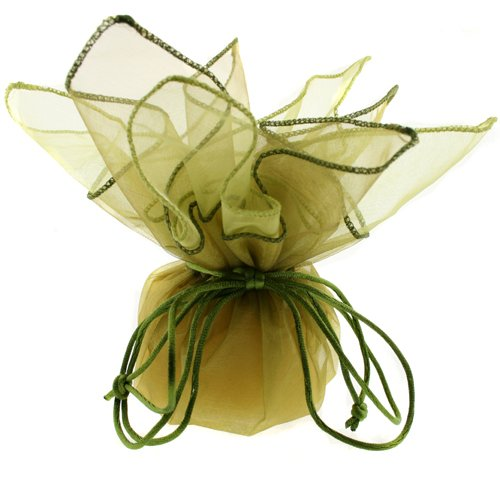 10 Designer Organza Fabric Drawstring Gift Bags Pouches Party Favor Gifts Packaging Olive Lime Medium Size