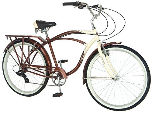 Schwinn Men S Sanctuary 7 Speed Cruiser Bicycle 26 Inch Wheels Cream Copper 18 Inch