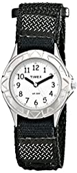 Timex Kids' T79051 My First Timex Stainless Steel Watch with Black Canvas Band