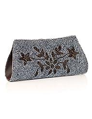 Voylla Voylla Gorgeous Black Grey Floral Beaded Clutch