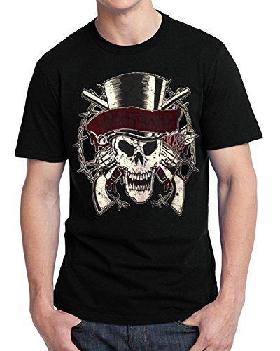 R2R0011 Maglietta ufficiale Guns n Roses Slash, motivo teschio con cilindro nero Medium