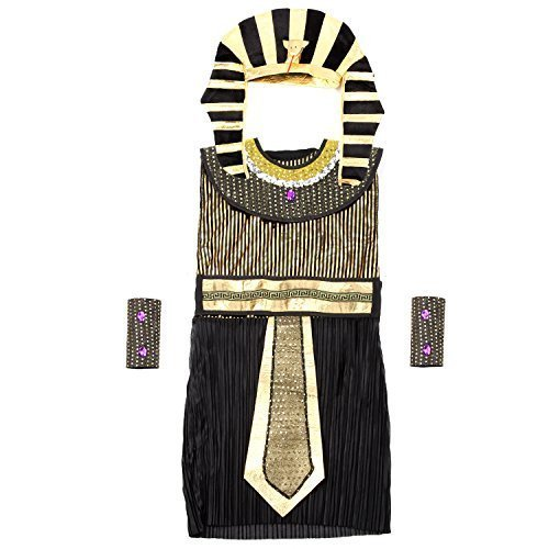 Acediscoball Boys' Egyptian Fancy Dress Costume with Headpiece Belt Arm Cuffs