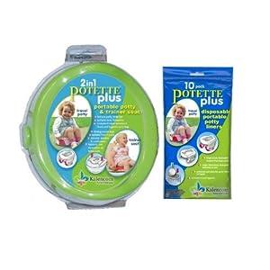 Kalencom 2-in-1 Potette Plus Green Traval Potty w/ 10 Potty Liner Re-fills