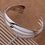 High Qaulity Silver Plated Elegant Fashion style Silver Cuff Wide Bangle for Women.Arrives in a pretty gift bag.