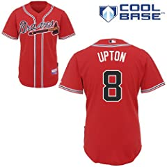 Justin Upton Atlanta Braves Authentic Red Alternate Cool Base Jersey by Majestic by Majestic