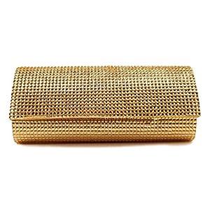 Scarleton Rhinestone Flap Clutch H301618 - Gold