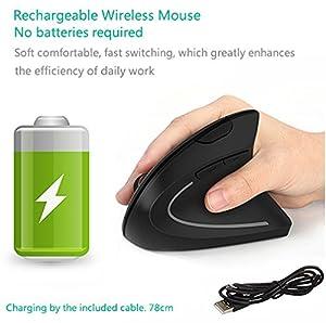 Ergonomic Mouse, Vertical Wireless Mouse - 7Lucky Rechargeable 2.4GHz Optical Vertical Mice : 3 Adjustable DPI 800/1200/1600 Levels 6 Buttons, for Laptop, PC, Computer, Desktop, Notebook etc, Black (Color: Black)