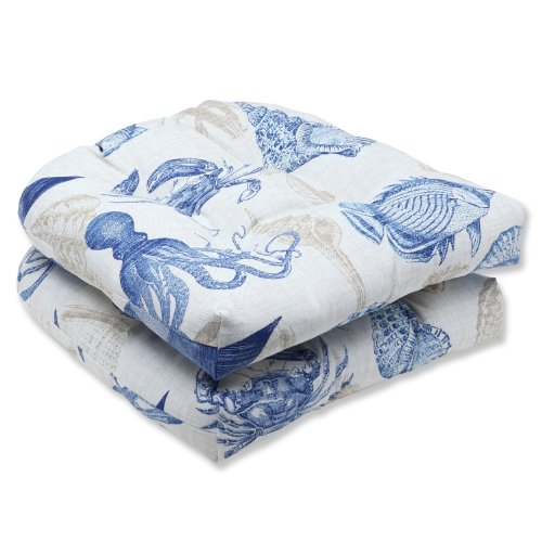 Pillow Perfect Outdoor Sealife Marine Wicker Seat Cushion, Set of 2 image