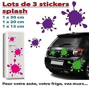 3 Stickers splash une belle tache pour votre auto, votre frigo, vos murs... couleur noir