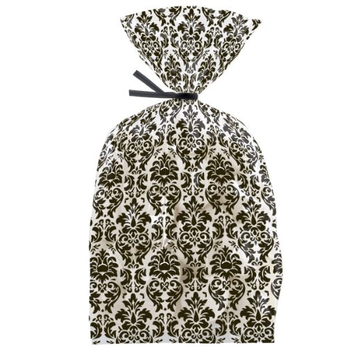 Black Damask Cello Bags - 4x9.5 - 20/Pack