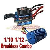レーシング60A ESC ブラシレス スピードコントローラ &10T 3900ブラシレスモーター 1/10 1/12 RC カー対応 (10T 3900KVモーター&60A ESC)