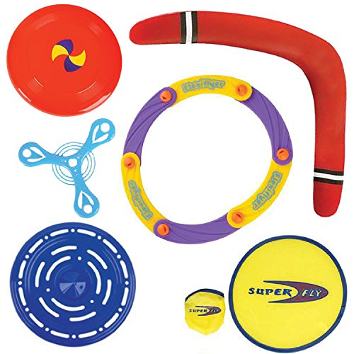Flying Fun Set by ArtCreativityTM - Cool Set of 6 Flyers, Frisbees & Boomerang - Thrilling Lawn and Yard Games - Hours of Wild Fun- Vibrant Colors - Best For Summer, Beach, Barbecue, Party & Park. (Ninja Turtle Real Weapons compare prices)