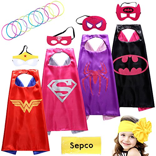 Sepco Superhero Costumes Girl Cape and Mask with Glow Bracelets and HeadBand
