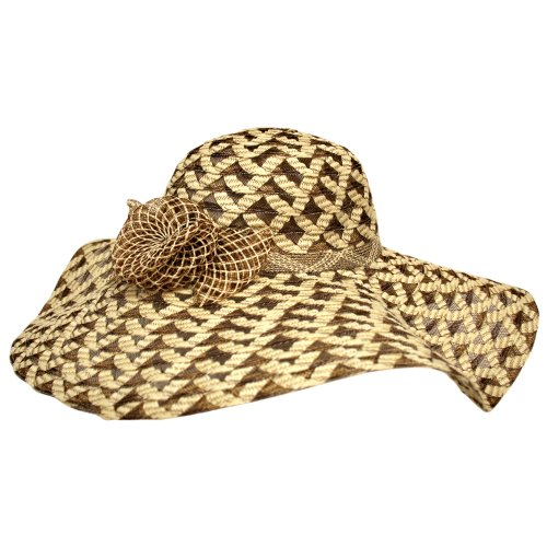 Cream & Brown Fancy Wide Brim Floppy Hat With Flower