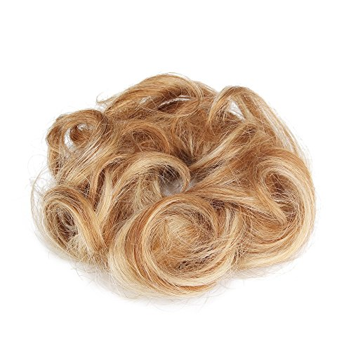 Rosette Hair 100% Human Hair Scrunchie Curly Messy Bun Human Hair Extensions Donut Hair Chignons Up Do Hair piece (Blonde) (Hair Ties Real Hair compare prices)