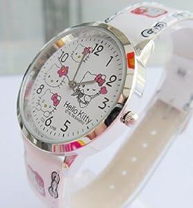 White Hello Kitty Girls Ladys Wrist Quartz Watch Faux Leather