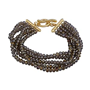 18k Yellow Gold Plated Sterling Silver Smoky Glass Stacked Layered Bead Bracelet, 7.75""