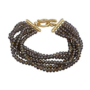 """18k Yellow Gold Plated Sterling Silver Smoky Glass Stacked Layered Bead Bracelet, 7.75"""""""