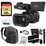 Panasonic HC-X1000 4K-60p/50p Camcorder with High-Powered 20x Optical Zoom and Professional Functions (Black) with Transcend 128 GB U3 SDXC + 30L Backpack + Accessories