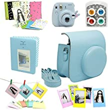 Fujifilm Instax Mini 8 Camera Bundles 7 in 1(Included:Blue Mini 8 Bag/ Blue Album/ Mini 90 Self-Portrait / Colorful Lens For Mini 8 / Photo Frame/ Sticker Borders/ Wall Frame)