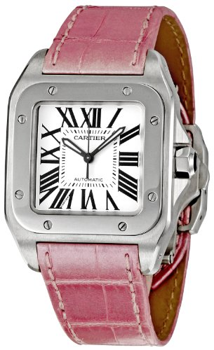 Cartier Women's Santos 100 Pink Leather Band Steel Case Automatic Silver-Tone Dial Analog Watch W20126X8
