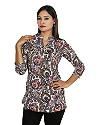 Sringar 3/4 Sleeve Printed Casual Blue Party Top _AS3067_Xl