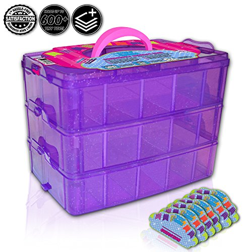 Tiny Toy Box Shopkins Storage Case Organizer Container - Stackable Sparkle Collector's Carrying Tote - Compatible With Happy Places Miny Toys Fash'ems Tsum Tsum Lego Hot Wheels (Purple Sparkle/Pink) (Marble Run Fridge compare prices)