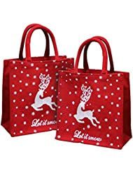 EARTHBAGS Laminated Red Jute Bag With White Reindeer