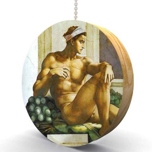 Fine Art Michelangelo Ignudi Hardwood Oak Fan / Light Pull