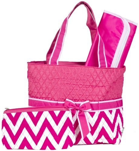 Ever Moda Pink Chevron Quilted Diaper Bag with Change Pad