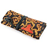 Silky Jewelry Roll / Cosmetic Roll Travel Pouch with Oriental Print Embroidering - Mixed Colors