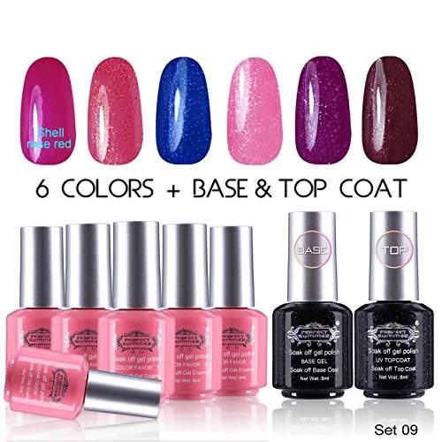 Perfect-Summer-Soak-Off-Gel-Nail-Polih-Set-6-Colors-with-Base-and-Top-Coat-Pack-of-8-8ml-Each