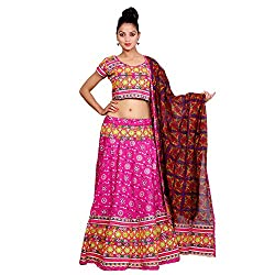 Pink Lehenga Choli Dupatta Set for Women