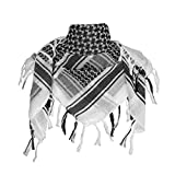 Explore Land 100% Cotton Military Shemagh Tactical Desert Keffiyeh Scarf Wrap (White)