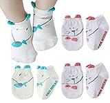 Happy Cherry - 4 pares Calcetines Antideslizantes para B�b�s Recien Nacido Zapatillas Calcetines Corto para Verano Dibujo de Animal Lindo - Talla S (0-2 a�os) - 11cm