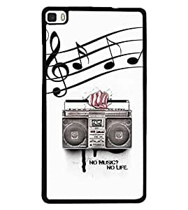 Fuson Premium No Music No Life Metal Printed with Hard Plastic Back Case Cover for Huawei P8