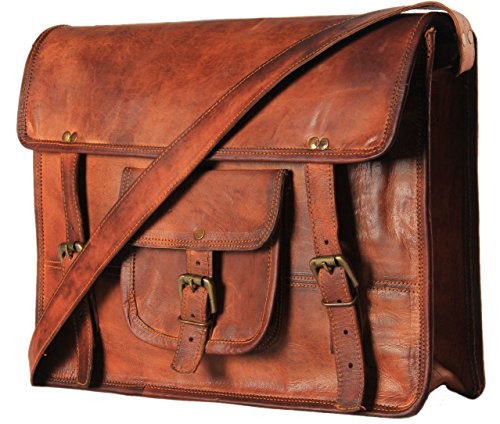 Handmadecart Leather Messenger Bags for Men and Women Laptop Shoulder Satchel Briefcase (17 Inches)