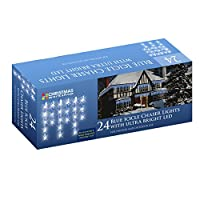 The Christmas Workshop 24 LED Icicle Chaser String Lights, Blue from Benross Group