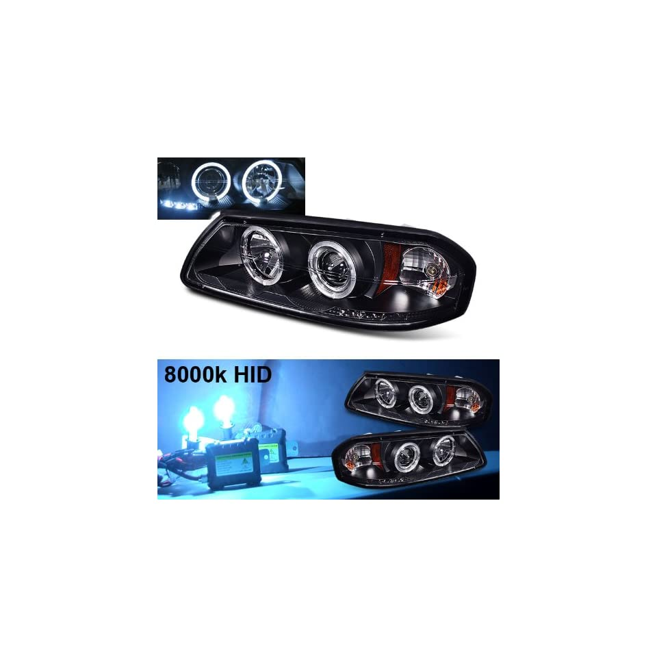 Eautolight 8000k Slim Xenon HID Kit + 2001 Chevy Impala Halo LED Projector Head Lights