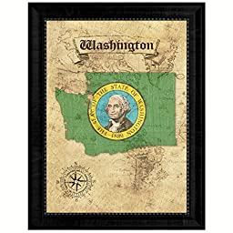 Washington State Vintage Map Flag Art Custom Picture Frame Office Wall Home Decor Cottage Shabby Chic Gift Ideas