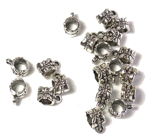 20 Dangle Hanger Beads 8x6mm Tube with Dragonfly and Loop, 4mm Hole for European Style Charm Bracelets Spacers Antique Sliver Metal Pewter Compatible with Pandora, Caprice, Dione Chains