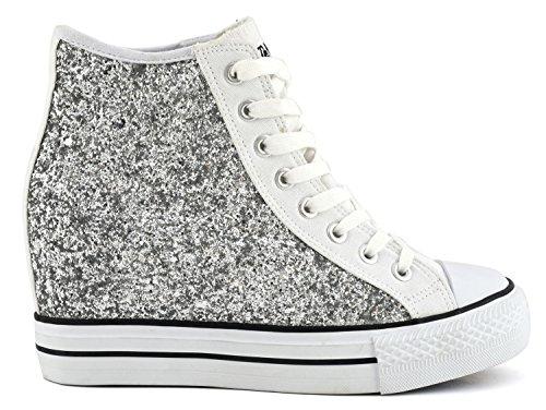 CAFÈ NOIR Sneaker donna running tipo all stars glitter bianco zeppa interna P/E 2016 cod. DG901 (40)