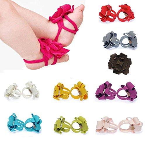 Fulltime® Bébés nouveau-né Barefoot Sandales/ Chaussures apprendre à marcher Pieds nus fleur à volants Bandeaux Photo Props