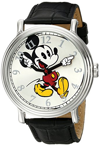 Disney Men's W001868 Mickey Mouse Silver-Tone Watch with Black Band 0