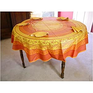 "Provence tablecloth yellow orange floral coated cotton tablecloth 70"" diameter   napkins"