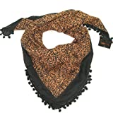 Leopard Print Scarf with pom pom lace - Square cotton printed leopard print fashion scarf